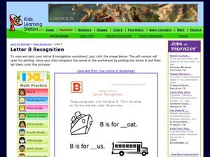 Letter B Recognition Worksheet