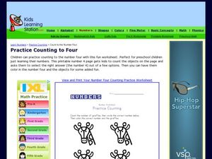 Practice Counting to Four Worksheet
