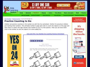 Practice Counting to Six Worksheet