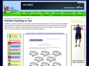 Practice Counting to Ten Worksheet