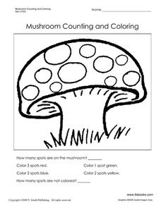 Mushroom Counting and Coloring Worksheet