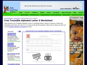 Alphabet Worksheet: Printing the Letter X Worksheet