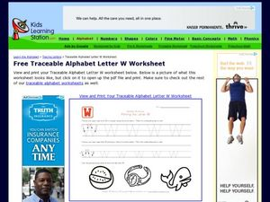 Traceable Alphabet Letter W Worksheet Worksheet