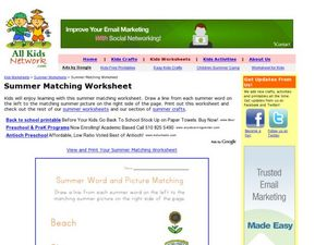 Summer Matching Worksheet Worksheet