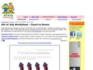 4th of July Worksheet - Count to Seven Worksheet