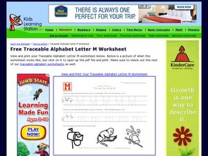 Traceable Alphabet Letter M Worksheet Worksheet