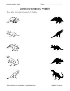 dinosaur shadow match worksheet for pre k 1st grade lesson planet. Black Bedroom Furniture Sets. Home Design Ideas