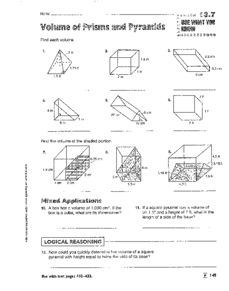 Volume Of Prisms Pyramids Cylinders And Cones Worksheet