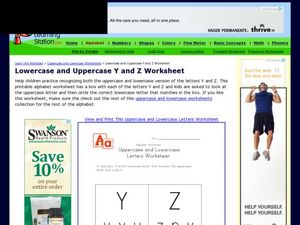 Lowercase and Uppercase Y and Z Worksheet Worksheet