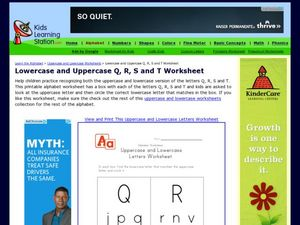 Lowercase and Uppercase Q, R, S and T Worksheet Worksheet