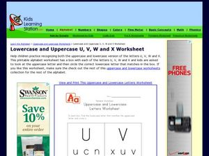 Lowercase and Uppercase U, V, W, and X Worksheet Worksheet