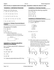 Polynomials and Trinomials Worksheet