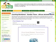 African Animals Worksheet - Counting Practice Worksheet