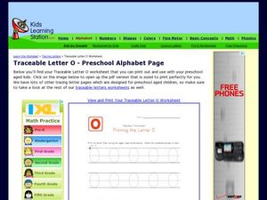Traceable Letter O - Preschool Alphabet Page Worksheet