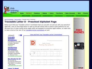 Traceable Letter D - Preschool Alphabet Page Worksheet