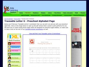 Traceable Letter G - Preschool Alphabet Page Worksheet