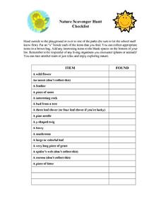 Nature Scavenger Hunt Worksheet