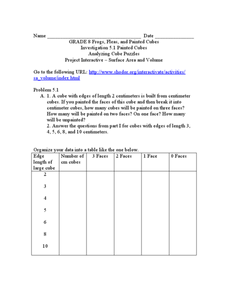 Analyzing Cubes Worksheet