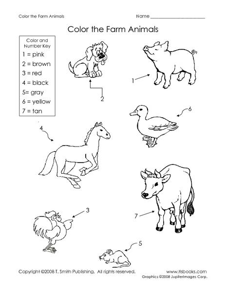 Color The Farm Animals Worksheet For Kindergarten - 2nd Grade Lesson  Planet