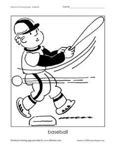 Baseball Coloring Page Worksheet