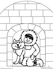 Eskimo Coloring Page Worksheet