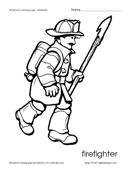 Firefighter Coloring Page Worksheet for Pre-K