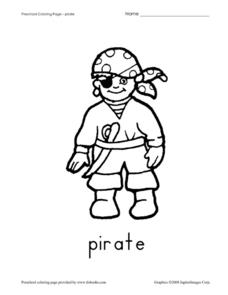 Preschool Coloring Page - Pirate Worksheet
