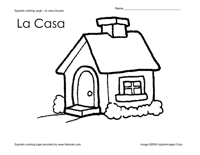 Spanish Coloring Page- La Casa Worksheet for Pre-K