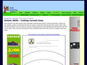 Scissor Skills-- Cutting Curved Lines Worksheet