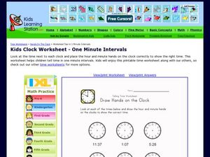 Kids Clock Worksheet - One Minute Intervals, Version 2 Worksheet