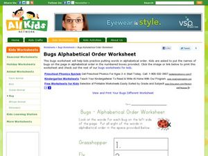 Bugs Alphabetical Order Worksheet Worksheet