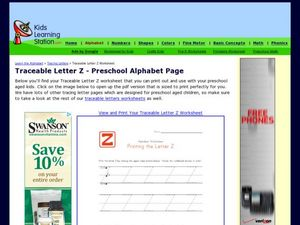Traceable Letter Z - Preschool Alphabet Page Worksheet