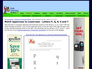 Match Uppercase to Lowercase - Letters P, Q, R, S and T Worksheet