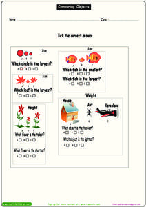 Comparing Objects Worksheet