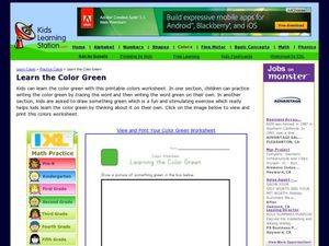 Colors Worksheet: Learning the color Green Worksheet