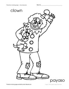 Preschool Coloring Page - Clown Worksheet
