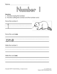 Printing the Numbers 1-10 Worksheet