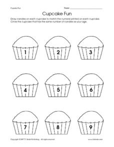 Counting 1-9 - Drawing Birthday Candles Worksheet