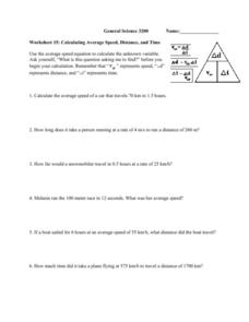 Calculating Average Speed, Distance and Time Worksheet
