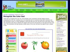 Colors Worksheet: Recognize the Color Red Worksheet