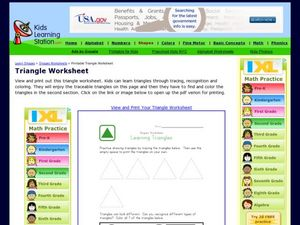 Shapes Worksheet: Learning Triangles Worksheet