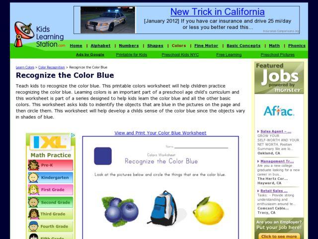 colors worksheet recognize the color blue worksheet for pre k 1st grade lesson planet. Black Bedroom Furniture Sets. Home Design Ideas