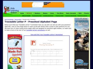 Traceable Letter P - Preschool Alphabet Page Worksheet