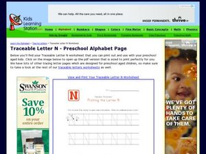 Traceable Letter N - Preschool Alphabet Page Worksheet