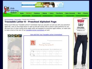 Traceable Letter R - Preschool Alphabet Page Worksheet