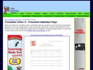 Traceable Letter S - Preschool Alphabet Page Worksheet