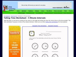 Time to Five Minute Intervals Worksheet