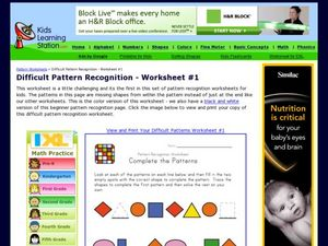 Pattern Recognition Worksheet: Complete the Patterns Worksheet