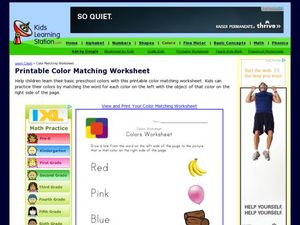 Color Word Matching Worksheet Worksheet