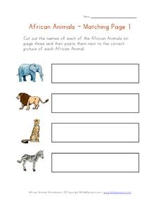 African Animals - Matching Worksheet
